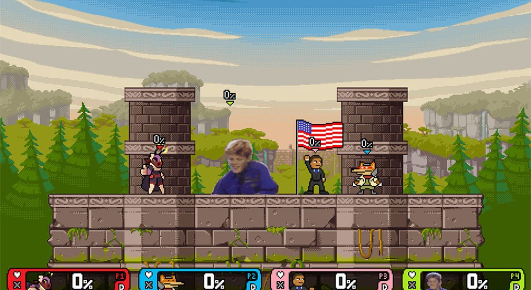 Mollo, Duane, Obama, and Fox in Rivals of Aether
