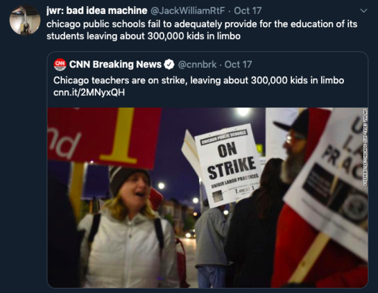 a tweet arguing that Chicago public schools are putting their students in limbo by failing to adequately provide them an education