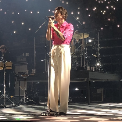 Harry Styles performing Fine Line the album at the Forum in Inglewood, CA